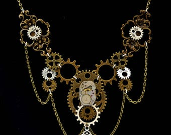 """Necklace Steampunk mechanism """"The Secret of Time"""""""