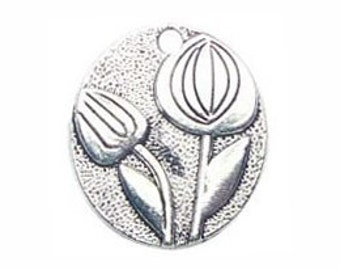 8 Tulip Charm Silver Flower Pendant 25x22mm by TIJC SP0376