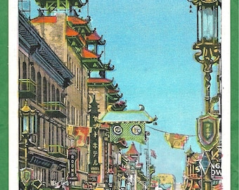 Vintage Linen Postcard - Shops and Traffic on Grant Avenue  in Chinatown San Francisco, California  (3211)