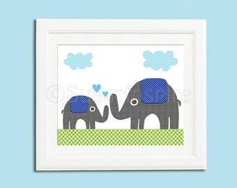 grey and blue elephant nursery Art Print, 8x10, baby boy room, Kids Room Decor, Children Wall Art , green