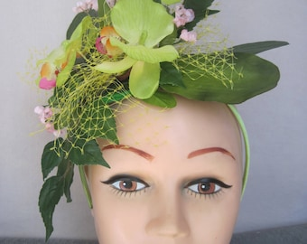 Pastel Yellow Green Cymbidium Orchids with Pink n Orange Centers Tropical Flower Fascinator