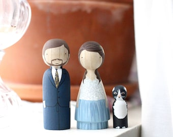 Wedding Cake Toppers with Pet // Peg Dolls Custom Wedding Cake Topper // Goose Grease // Wooden Dolls // Cake Toppers // Custom Portrait