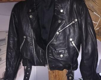 Black biker leather jacket XXS