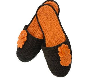 Сrochet Slippers Pattern, Slippers for women, Slippers with flowers  PDF - Pattern  ONLY
