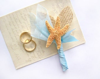 Starfish Boutonniere, Beach Wedding, Grooms Flower, Custom Color, Buttonhole, Lapel Pin, Groomsmen, Destination Wedding, Blue, Aqua, Teal,