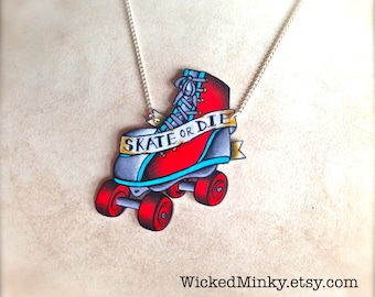 Tattoo Necklace Vintage Tattoo Roller Derby Skate with Bright Blood Red and Teal Accents by Wicked Minky NEW
