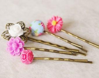 Flower Hair Pin Set / Flower Bobby Pin Set / Bridal Hair Clips / Pin-Up Hair Flower / Set of 5 Hair Pins
