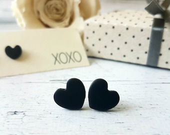 Black heart earrings, Heart stud earrings, Girlfriend gift,  Dainty studs, Simple earrings black, Heart shaped earrings, Cute earrings
