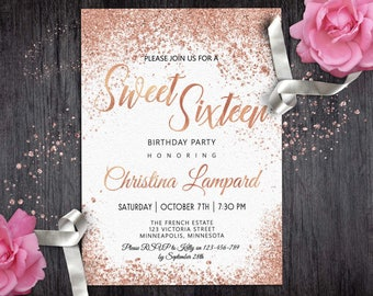 Sweet 16 invitation etsy rose gold white birthday invitation for girls digital sweet 16 invitation glitter invite 16th teen glam stopboris Images