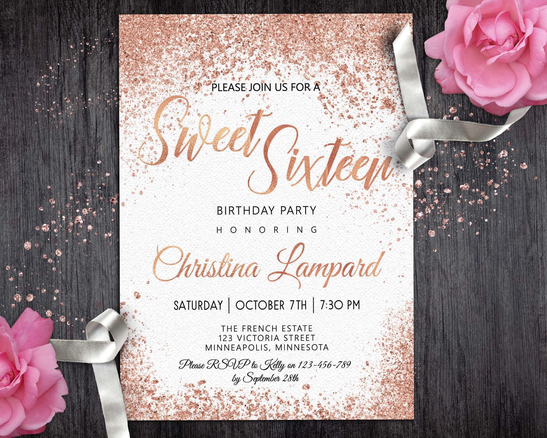 Rose Gold White Birthday invitation for girls Digital Sweet 16