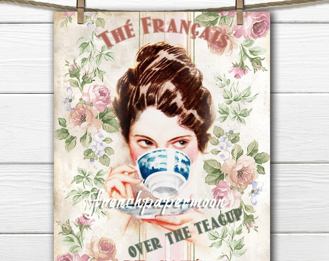 Digital Harrison Fisher Over the Teacup, Teatime Graphic, Vintage Tea, French Tea, Large Size Digital Transfer Image