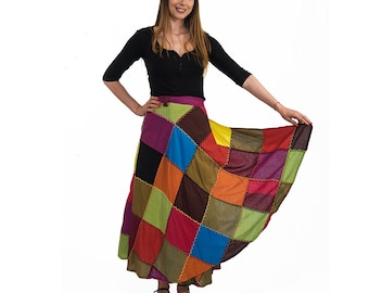 Colorful patchwork wrapping skirt one size fits all cotton handmade item