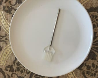 Vintage lucite silver plate crumb brush