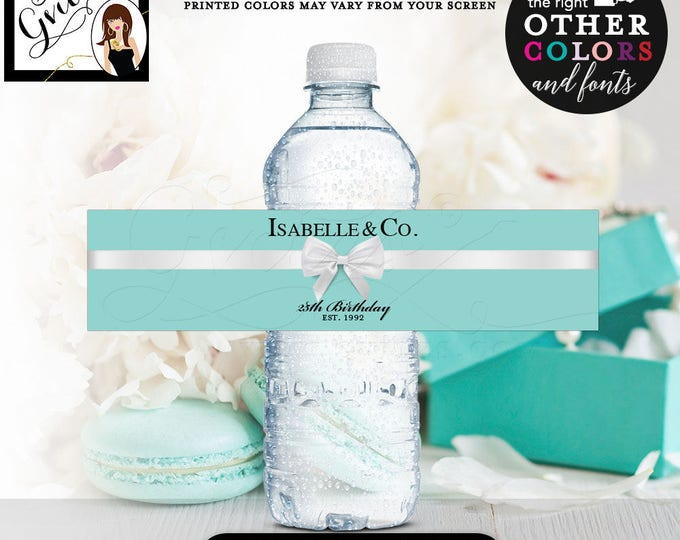 """25th Birthday Water Bottle Labels, Isabelle & Co Stickers breakfast at blue {REALISTIC SATIN RIBBON} 8x2""""/5 Per Sheet Digital File Only!"""