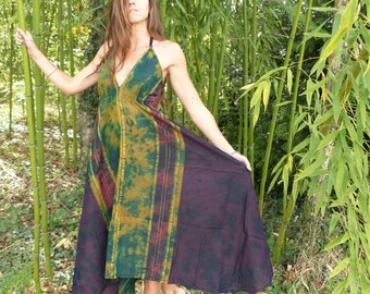Dress long ethnic tie dye cotton sari, naked back, summer, beach, festival