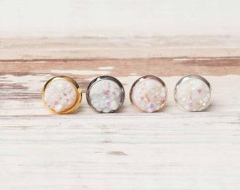 White Opal Earrings, White Opal Druzy, Rosegold Stud Earrings, Gift Idea, Rosegold, Stud Earrings, Simple Earrings, White Jewelry
