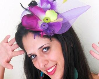 Purple fascinator magenta  fascinator hat  for weddings STAV JUNGLE