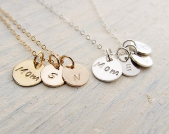 Mom Necklace with Kids Initials, Personalized Necklace for Mother in 14k Gold Filled or Sterling Silver, Mother Gift, Mom Charm Jewelry
