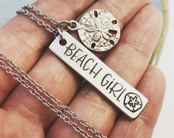 Beach Girl ~ Pewter Hand Stamped Necklace ~ Starfish ~ Sand dollar Jewelry ~ Sea ~ Ocean ~ Summer ~ Surfer ~ Swimmer ~ Sand ~  HLJ