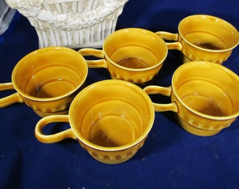 Ceramic cups set of four, Small yellow pottery mugs, Vintage Norway mugs, Shot cups 50 ml, Christmas cups, Mulled wine, Cider cups