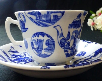 Vintage Blue and White Delft Earthenware Burgess & Leigh Stoke on Trent Pictorial Britain Transfer-ware Flat Cup and Saucer