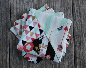 Fabric Drink Coasters | Set of 4 - Cute Multi-Pattern with Teal & Gold Accents | Criss Cross Design