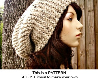 Instant Download Knitting Pattern - Oversized Slouchy Hat Pattern - Slouchy Beanie Knit Hat Pattern - Mens Hat Pattern Womens Hat Pattern