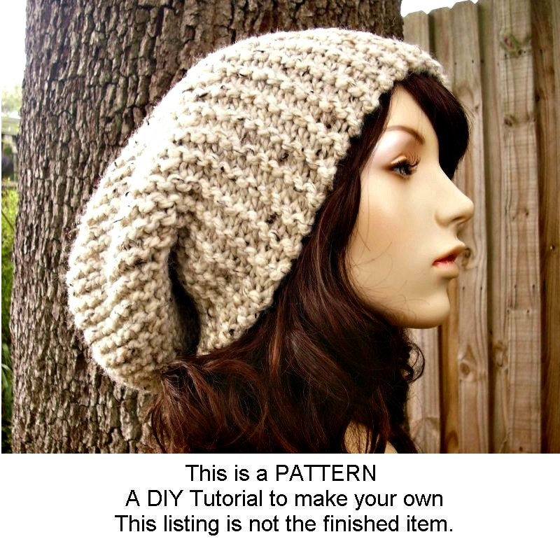 Instant Download Knitting Pattern Oversized Slouchy Hat