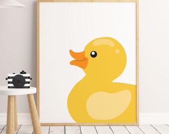 DUCKY nursery print, baby animal nursery art, yellow DIGITAL print, Minimal duck, Nursery minimal art, Kids wall decor, bathroom wall art