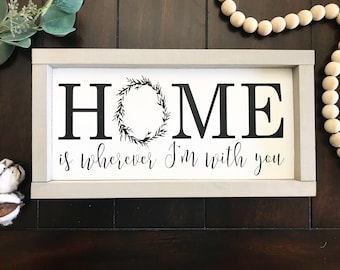 Home Is wherever I'm with you / Home wreath / Wreath sign / Home Sign / Home Decor / Wreath framed sign