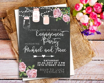 rustic engagement invitation bbq engagement party invitation