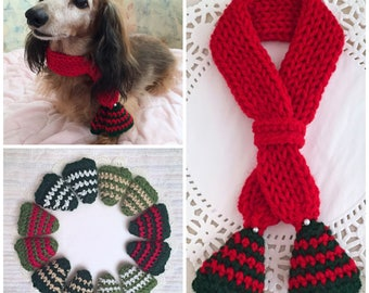 Dog Scarf, Christmas Dog Collar, Dog Bandana, Dog Cowl, Crocheted Scarf, Pet Accessory, Pet Clothing Apparel, Pet Scarf, Presents for Dogs