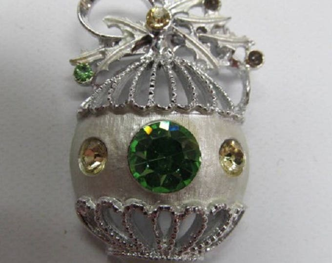 Vintage Christmas  Brooch- Silver with Colored Stones- Very Eleagant- with Reduced Shipping, CLEARENCE