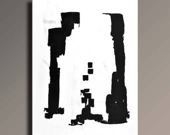Large ABSTRACT PAINTING Black White Gray Painting Original Canvas Art Contemporary Modern Minimal Art 48x36 wall decor #51WB