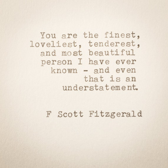 F Scott Fitzgerald Typewriter Quote ... Hand Typed On 1970s Typewriter   Quote, Bookmark, Size 4 3/8 X 3 2/8 In by Etsy