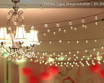 Attractive Sale 50CT BULB STRING Lights 30 Ft Strand Garland 50 Bulbs Plastic 14.4W  Globe Cafe