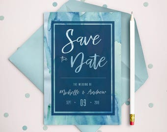 PRINTABLE Watercolor Save the Date -  Custom Invitation