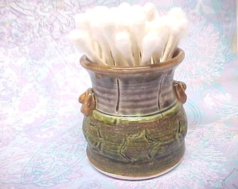 Small Pottery Jar for Cotton Swabs Succulents, Mommy Posies