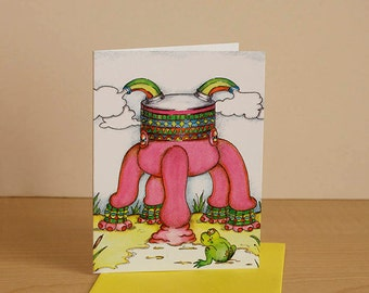 Small size, blank card, card any occasion greeting card, child birthday card funny card