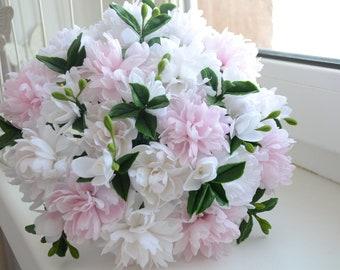 Floral arrangement cold porcelain Real Touch peonies,Home Décor,Alternative bouquet