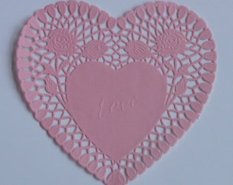 24 Pink Heart shaped paper doilies, 8 inch size, Valentine's Day, Wedding, Party decor