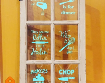 Baking Song Lyrics quotes SIX vinyl wall decal sticker Bakers Gonna bake Whip it Whip it good Just Beat it They See me Rollin They Hatin