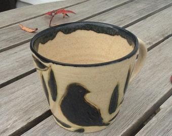 Blackbird mug - sturdy and rustic