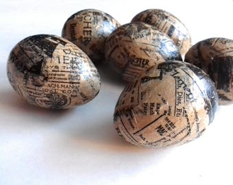 6 Recycled Newspaper Paper Mache Easter Eggs
