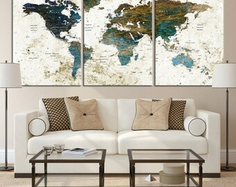 Large Watercolor Push Pin World Map Canvas Print - Yellow&Blue Watercolor World Map with Country Names on White Background Canvas Print