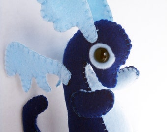 Baby Dragon felt plush stuffed animal- Dark blue with light blue