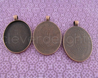 5 Pk - 30x40mm Oval Pendant Trays - Antique Copper Color - Vintage Style Oval Pendant Blanks - For Clear Glass or Resin - 30 x 40 mm