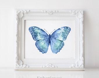 Blue Butterfly wall art, Butterfly Print, Butterfly wall decor Blue print, Bedroom art Royal Blue Butterfly art print, Nursery art printable