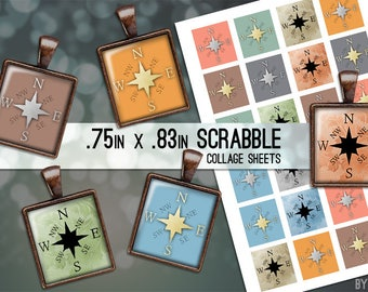 Compass Rose Digital Collage Sheet Scrabble Tile .75x.83 Images 4x6 8.5x11 Download Sheets for Glass Resin Pendants