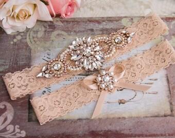 Rose Gold Wedding Garter set, Vintage Blush Bridal Garter set, Blush Lace Garter set, Rose Gold Garter, Blush Lace Garter, Rose Gold Crystal